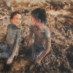 Playing on the mud